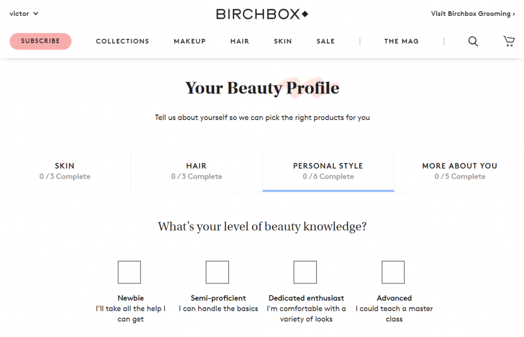 BIRCHBOX - Your Beauty Profile